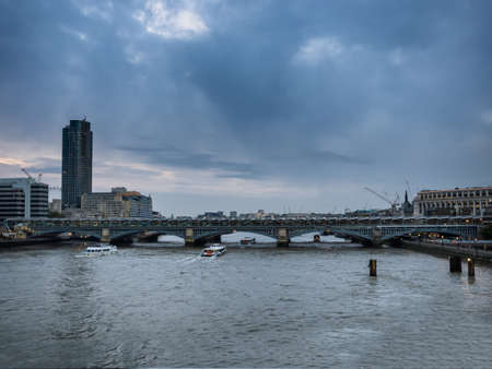 blackfriars bridge: London skyline with Blackfriars bridge seen from the river Thames, UK Stock Photo