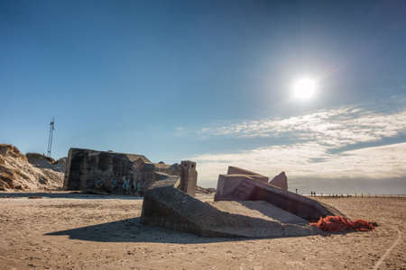 esbjerg: Bunker on a Danish beach. Fortification by the North Sea coast from world war 2
