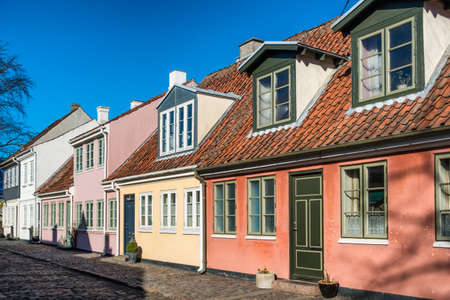 hans: Old homes in cobbled streets in Odense, the city of Hans Christian Andersen, Denmark