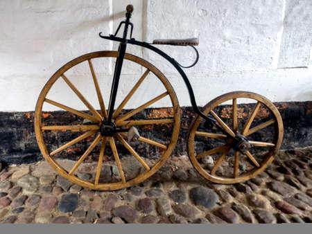 Wooden penny farthng bike