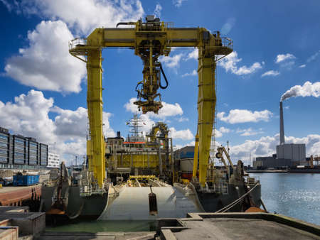 esbjerg: Offshore cable rig in Esbjerg harbor, Denmark Editorial