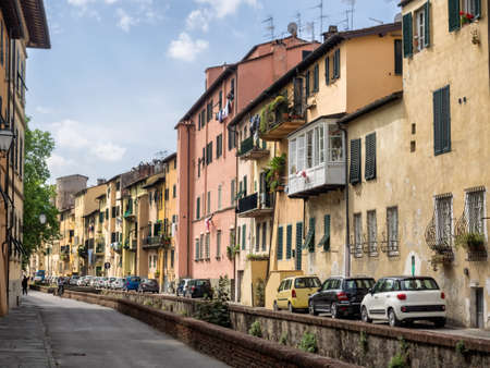 via: Via del fosso with canals in Lucca, Italy