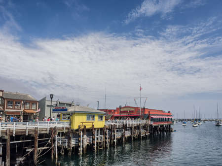 national historic site: Montereys Fishermans Wharf harbor in California Editorial