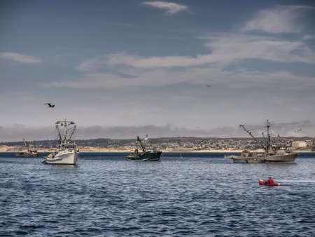 Fishing vessels in Monterey harbor, California USA
