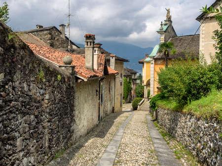 orta: Small streets in Orta san Giulio in Italy Stock Photo