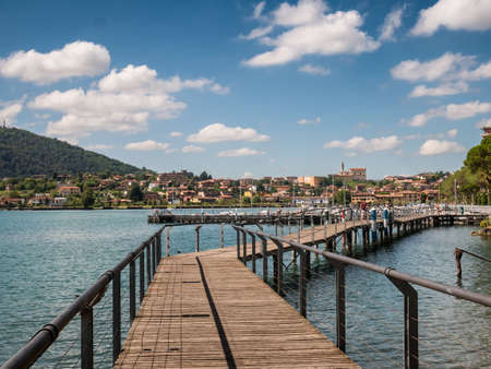Sarnico village at the lakeside of lake Iseo in Italy