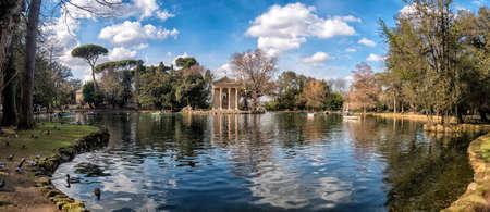 Temple of Aesculapius in Villa Borghese Gardens, Rome Italy Stock Photo
