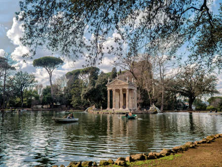 Temple of Aesculapius in Villa Borghese Gardens, Rome Italy Stock Photo