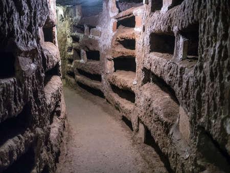 Catacombe di San Pancrazio under the basilica in Trastevere, Rome Italy