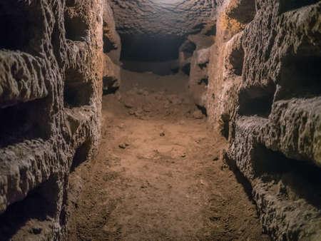 catacomb: Catacombe di San Pancrazio under the basilica in Trastevere, Rome Italy