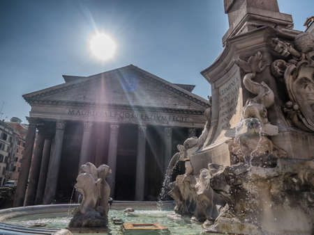 angels fountain: Pantheon from the outside with fountain in front