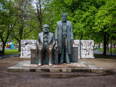 founders: Karl Marx and Friedrich Engels monument in Berlin, Germany