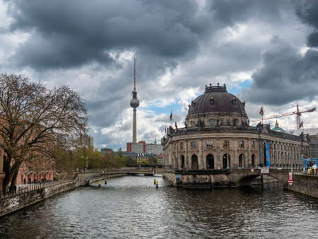 bode: Museum island on Spree river and Alexanderplatz TV tower in center of Berlin, Germany
