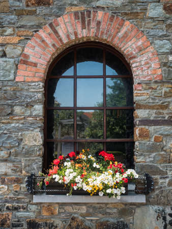 shutter: Old rustic window with many flowers