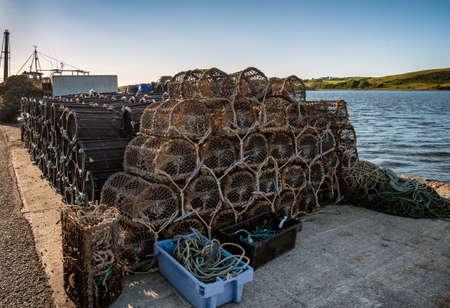 Lobster traps in the port of Westport in western Ireland Stock Photo
