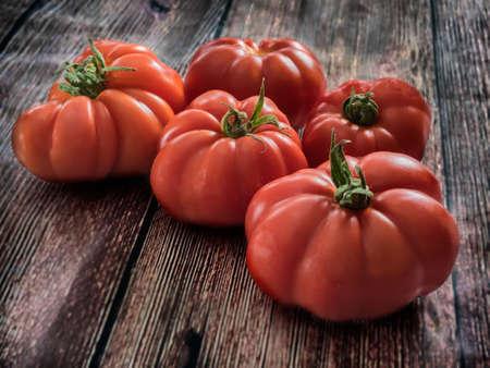 Fresh red Marmande RAF red tomatoes Stock Photo