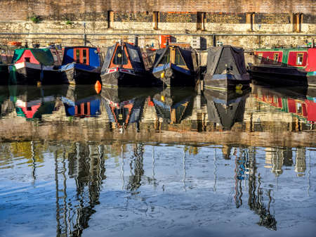 Boats in the canals in London on the way to Camden, UK