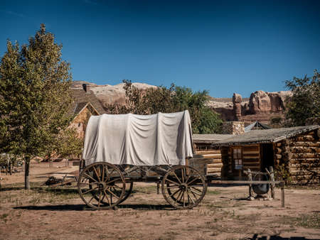 Vintage wagons in Fort Bluff City Museum, Utah, USA