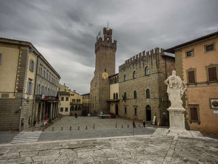 Communal Palace Streets in Arezzo, Tuscany Italy Stock fotó