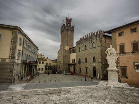 Communal Palace Streets in Arezzo, Tuscany Italy Stock Photo