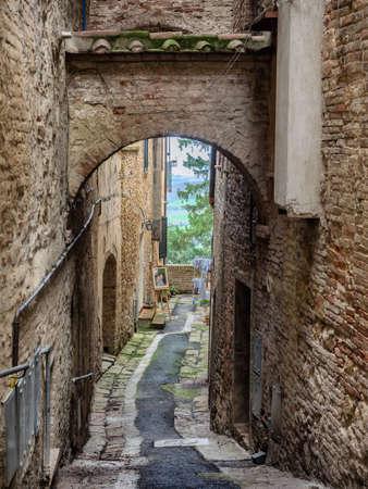 Small narrow streets in wine city of Montepulciano in Tuscany, Italy