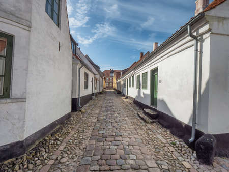 Cobbled streets in the medieval city Ribe, Denmark