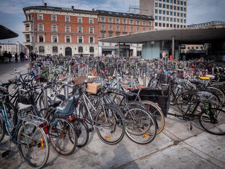 Bicycles parked in central Copenhagen, Denmark