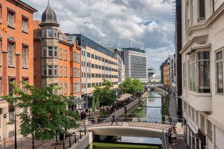 Aarhus river running through the city center, Denmark
