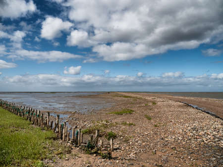 Wadden sea road to the island Mandoe in Denmark Stock Photo - 127816324