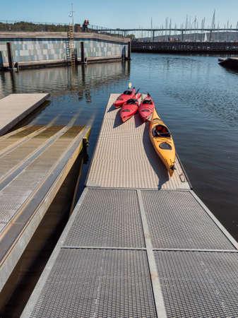 Vejle inner marina harbor with kayaks Denmark