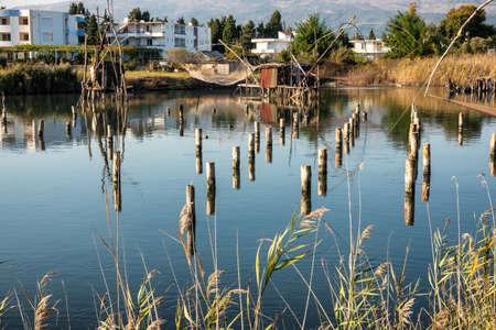 Ulcinj fishing stations nets in the lagoon, Montenegro