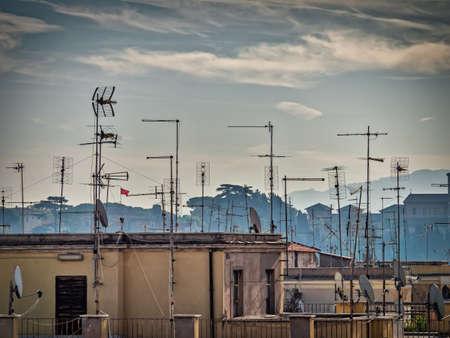 Vintage tv aerials antennas in Rome, Italy Stok Fotoğraf