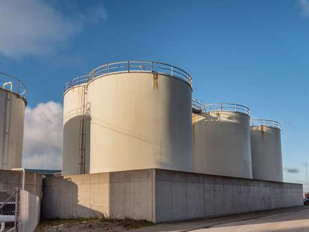 Fish oil tanks on Thyboroen harbor, Denmark
