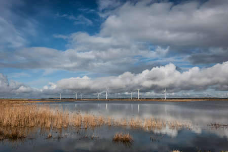Sneum Sluse behind the dikes with bird areas, Esbjerg Denmark Banque d'images