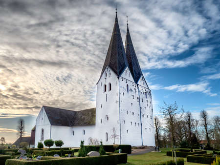 Broager two towers church in southern part of Denmark