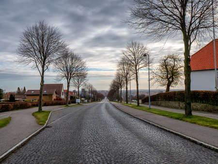 Paved road from Dybboel Mill to Soenderborg, Denmark