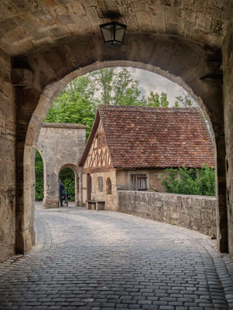 Ancient city gate in Rothenburg ob der Tauber, Germany