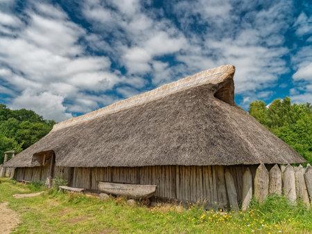Iron age settlement living museum near Vingsted Vejle, Denmark