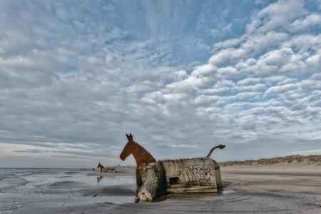 Bunker Mules horses on Blaavand Beach, North Sea coast, Denmark