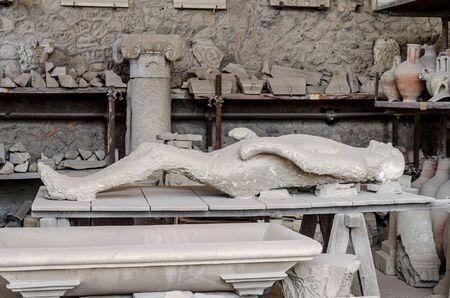 Victim in pompeii of mount Vesuvius, Italy