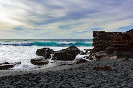 Waves at the coast from El Golfo, Lanzarote, Spain
