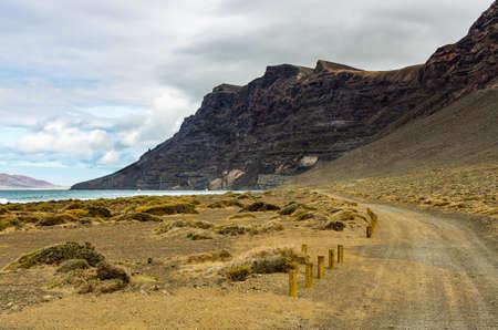 View to the Risco de Famara from the Playa de Famara in the northwest of Lanzarote