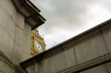 Unusual View to the Clock Big Ben in London, England