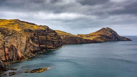 View over the peninsula of Sao Lourenco, dramatic sky, Madeira, Portugal