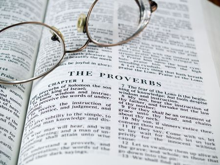 A Bible opened to the Proverbs