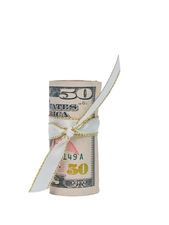 fifty dollar bill: A single US Fifty Dollar Bill rolled and tied with a white and gold ribbon. Stock Photo