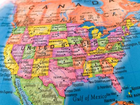 southern: A macro closeup of a political globe focusing on the United States.