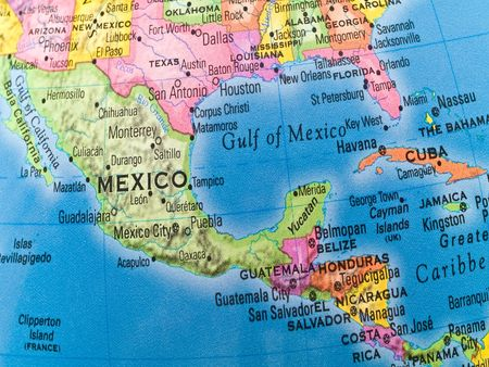 A macro closeup of a political globe focusing on Mexico and Central America. Stock Photo