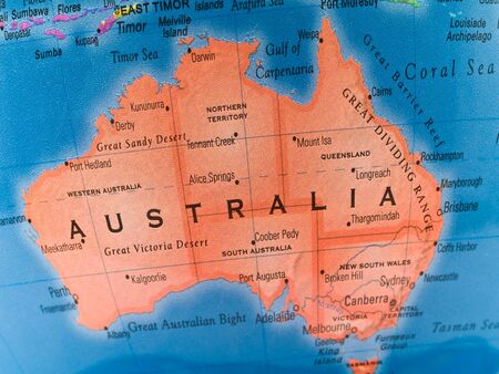 A macro closeup of a political globe focusing on Australia. photo