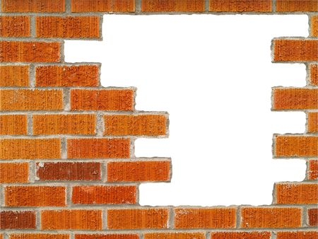 Brick wall background, with large white hole, in various shades of red, orange, brown, tan, and white. 免版税图像